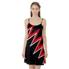 Black and red simple design Satin Night Slip