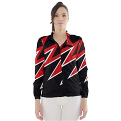 Black and red simple design Wind Breaker (Women)