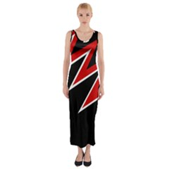 Black And Red Simple Design Fitted Maxi Dress