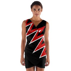 Black And Red Simple Design Wrap Front Bodycon Dress