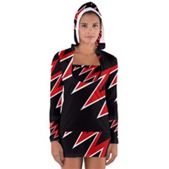 Black and red simple design Women s Long Sleeve Hooded T-shirt