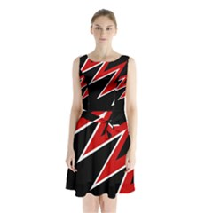 Black and red simple design Sleeveless Waist Tie Dress