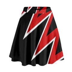 Black And Red Simple Design High Waist Skirt