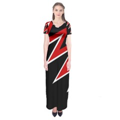 Black and red simple design Short Sleeve Maxi Dress