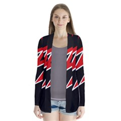 Black and red simple design Drape Collar Cardigan