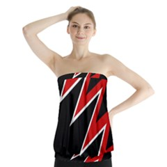 Black and red simple design Strapless Top