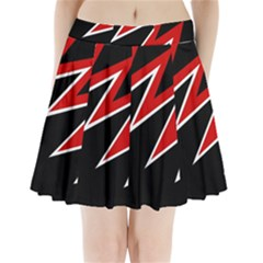 Black And Red Simple Design Pleated Mini Mesh Skirt