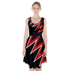 Black And Red Simple Design Racerback Midi Dress
