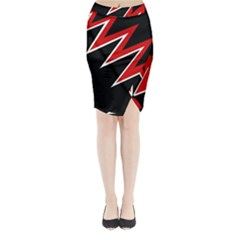 Black And Red Simple Design Midi Wrap Pencil Skirt