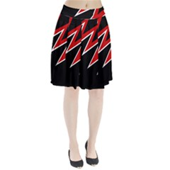 Black and red simple design Pleated Mesh Skirt