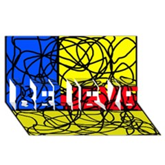 Yellow abstract pattern BELIEVE 3D Greeting Card (8x4)