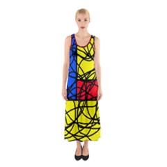 Yellow abstract pattern Sleeveless Maxi Dress