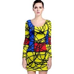 Yellow abstract pattern Long Sleeve Bodycon Dress