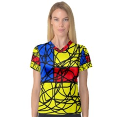 Yellow abstract pattern Women s V-Neck Sport Mesh Tee
