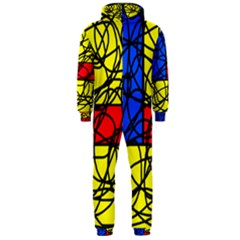 Yellow abstract pattern Hooded Jumpsuit (Men)