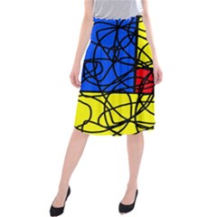 Yellow abstract pattern Midi Beach Skirt