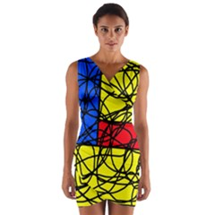 Yellow abstract pattern Wrap Front Bodycon Dress
