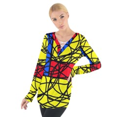 Yellow abstract pattern Women s Tie Up Tee