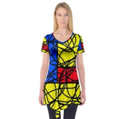 Yellow abstract pattern Short Sleeve Tunic