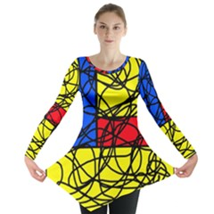 Yellow abstract pattern Long Sleeve Tunic