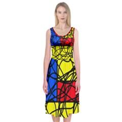 Yellow abstract pattern Midi Sleeveless Dress