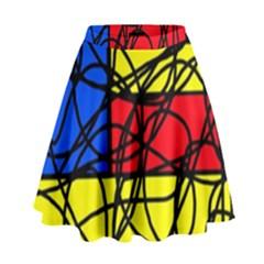 Yellow abstract pattern High Waist Skirt