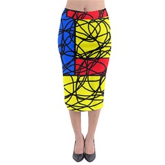 Yellow Abstract Pattern Midi Pencil Skirt