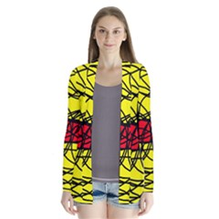 Yellow abstract pattern Drape Collar Cardigan
