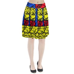 Yellow abstract pattern Pleated Mesh Skirt