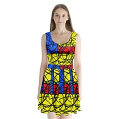 Yellow Abstract Pattern Split Back Mini Dress