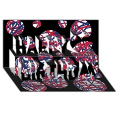 Colorful decorative pattern Happy Birthday 3D Greeting Card (8x4)