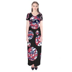 Colorful decorative pattern Short Sleeve Maxi Dress