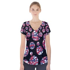 Colorful decorative pattern Short Sleeve Front Detail Top
