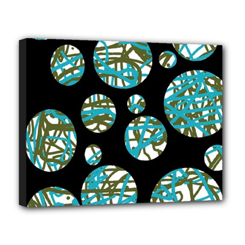 Decorative blue abstract design Canvas 14  x 11