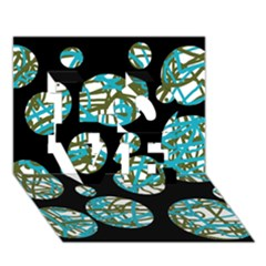 Decorative blue abstract design LOVE 3D Greeting Card (7x5)