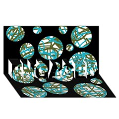 Decorative blue abstract design ENGAGED 3D Greeting Card (8x4)