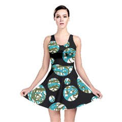 Decorative blue abstract design Reversible Skater Dress