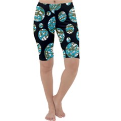 Decorative blue abstract design Cropped Leggings
