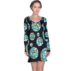Decorative blue abstract design Long Sleeve Nightdress
