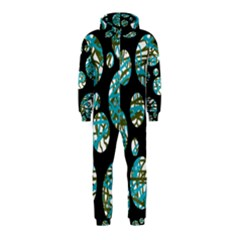 Decorative blue abstract design Hooded Jumpsuit (Kids)