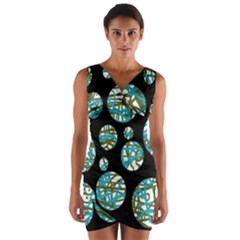 Decorative Blue Abstract Design Wrap Front Bodycon Dress