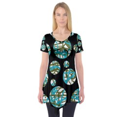 Decorative blue abstract design Short Sleeve Tunic
