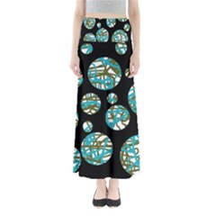 Decorative Blue Abstract Design Maxi Skirts