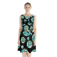 Decorative blue abstract design Sleeveless Waist Tie Dress