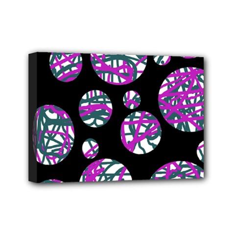 Purple decorative design Mini Canvas 7  x 5