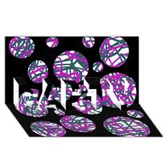 Purple decorative design PARTY 3D Greeting Card (8x4)