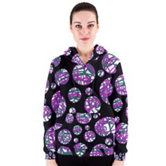 Purple decorative design Women s Zipper Hoodie