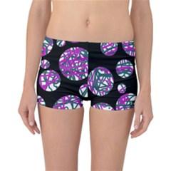 Purple decorative design Reversible Boyleg Bikini Bottoms