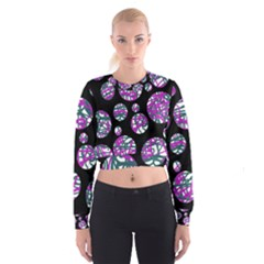 Purple decorative design Women s Cropped Sweatshirt