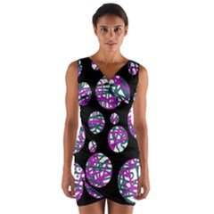 Purple decorative design Wrap Front Bodycon Dress